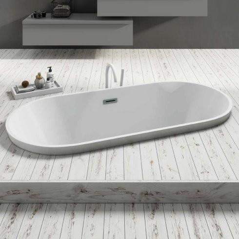Banos10 | ovale Badewanne Curve mit Luftmassagesystem und Wannenrandarmatur