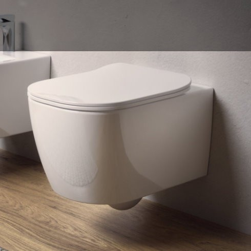 "Wand-WC Serie Faster Rimless | Soft Close Sitz ""Slim"" | Ausführung weiß | spülrandlos"