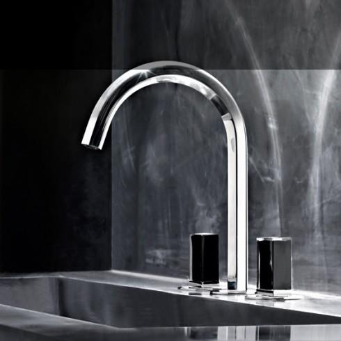 Dreilocharmatur Venezia | Silber | Griffe: Muranoglas schwarz