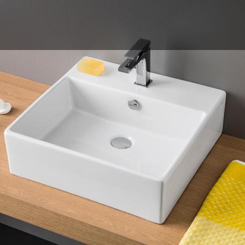 ART CERAM Quadro | Waschtisch | 50x48cm | bordo fino
