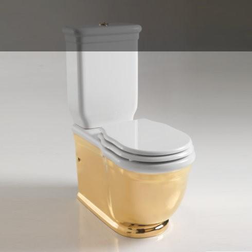 Hidra | wandstehendes Spülkasten-Stand-WC Ellade | weiß gold (013) | Sitz weiß
