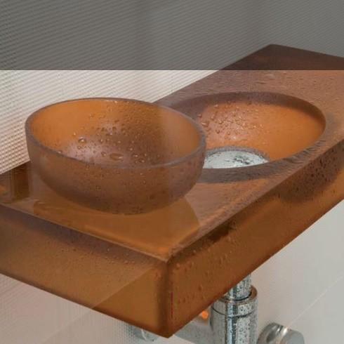 Hamam Waschbecken Mini mit Wasserschale | Kunstharz bernsteinfarben