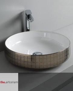 Art Ceram | Aufsatzwaschschale Cognac 48 | platinum mosaik