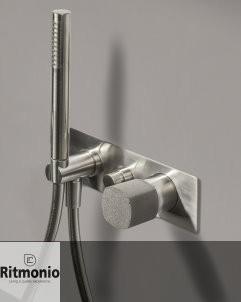Unterputz-Duschenmischer Haptic | Nickel gebürstet | Griff aus Beton