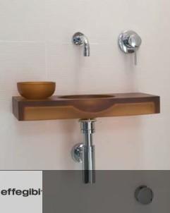 Hamam Waschbecken Mini mit Wasserschale | Kunstharz bernsteinfarben |  (Armatur: Serie Nostromo)