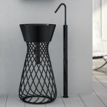 Hidra | freistehender Waschtisch Wire | schwarz lackiert