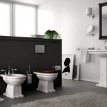 Ellade Stand-WC mit Bodenabgang (installiert an Unterputz-Spülkasten) |  WC-Sitz in Walnuss