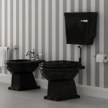 Ellade Stand-WC mit Bodenabgang | mit Wandspülkasten | schwarz glänzend