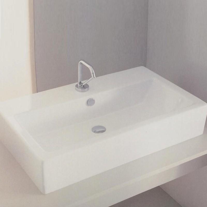 hidra ceramica rechtreckiges waschbecken mit hahnloch serie loft aufsatz oder wandmontage. Black Bedroom Furniture Sets. Home Design Ideas