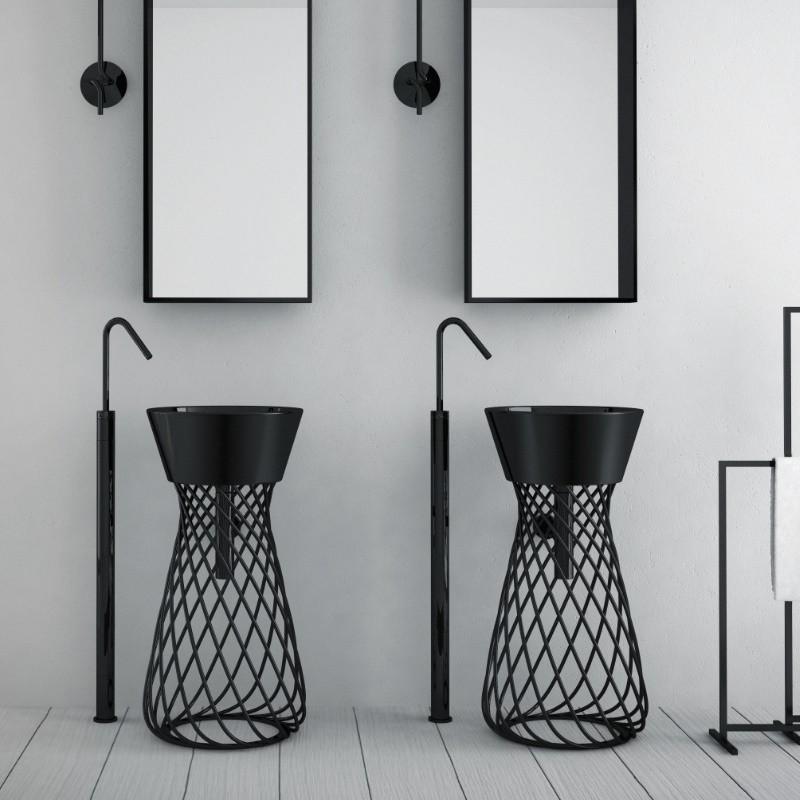 art ceram freistehendes waschbecken wire metall keramik design paolelli meneghello. Black Bedroom Furniture Sets. Home Design Ideas