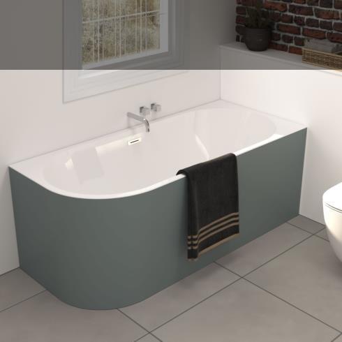Banos10 | Wand-Badewanne Taris zum Eckeinbau | weiß | 170x80 | Rechtsversion