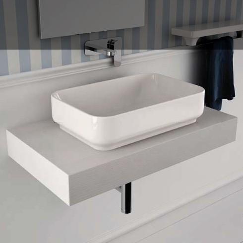 Aufsatz-Waschschale Giò 40 | weiß auf Unterkonsole Mensola