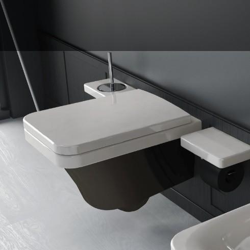 Hidra | Flat | Wand-WC | weiß/schwarz | Accessoirs Piano