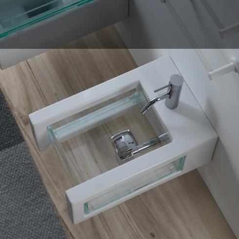Wand-Bidet Glass | 34cm | weiß glänzend