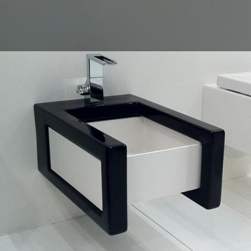 Wandbidet Serie Box | Keramik schwarz / Becken weiß