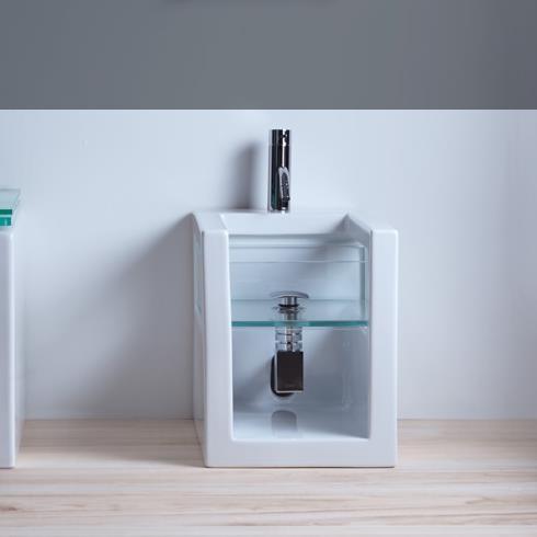 Stand-Bidet Glass | 34cm | weiß glänzend