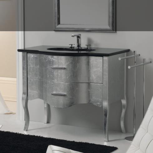 GSG | Time | klassische Waschtischkommode mit 2 auszügen auf Beinen | 94cm | Silber / schwarz glänzend