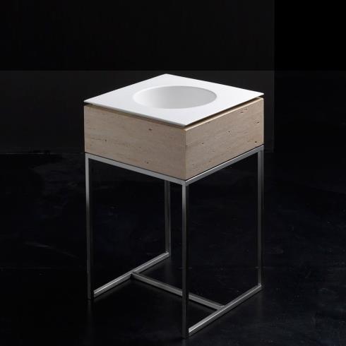 Standwaschtisch mit Einbauwaschbecken Skyland 48 | quadratisch | Travertin