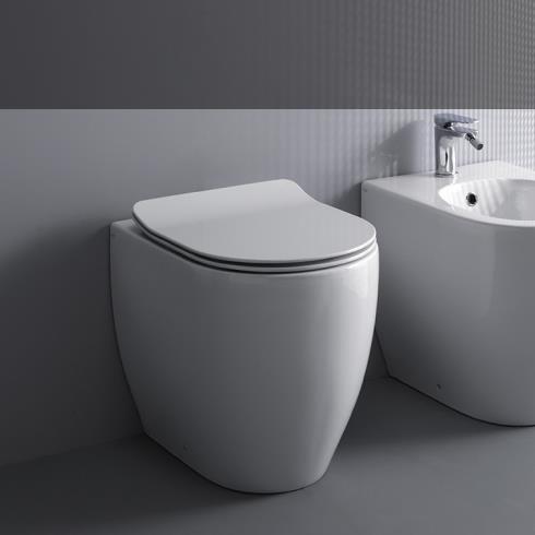 Axa Stand-WC Glomp | spülrandlos | 51cm | mit WC-Sitz weiß