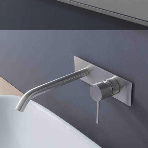Unterputz-Waschtischmischer 40mm | mit Abschlussplatte | langer Auslauf (1376) | Edelstahl gebürstet