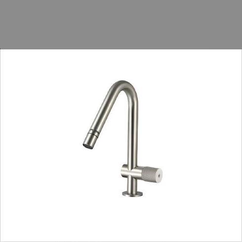 Waschtischmischer 22mm | Einhand-Bedienung | Edelstahl gebürstet | Auslaufhöhe: 78mm