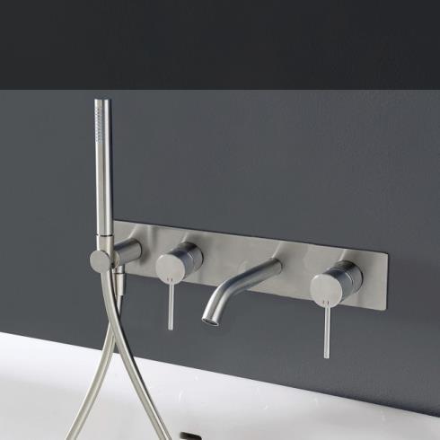 Treemme | Unterputz-Wannenfüllarmatur 40mm | Edelstahl gebürstet