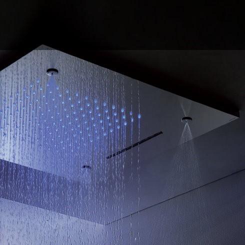 Regenbrause mit Wasserfall und Licht | Einbaudeckenbrausepaneel 50x50 cm | edelstahl poliert