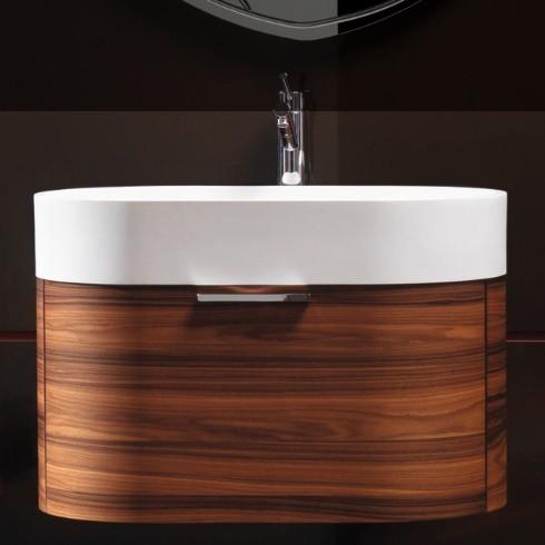 Regia Waschtisch Bilbao | Waschbecken: Tecnoglass weiß (51) | Schubladenelement: Palisander (02)