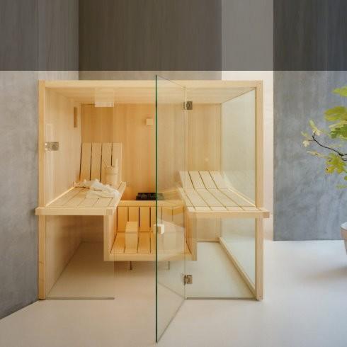 Effegibi | Sauna Air Corner 80 | natürliches Espenholz