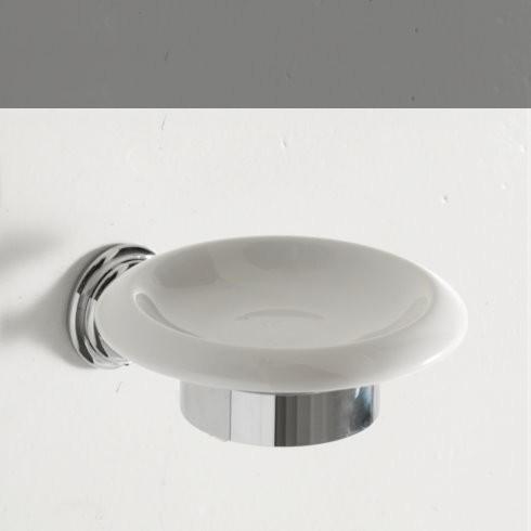 Seifenschale Victoria | Keramik weiß / chrom