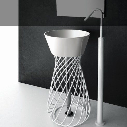 Art Ceram | freistehender Waschtisch Wire | weiß lackiert