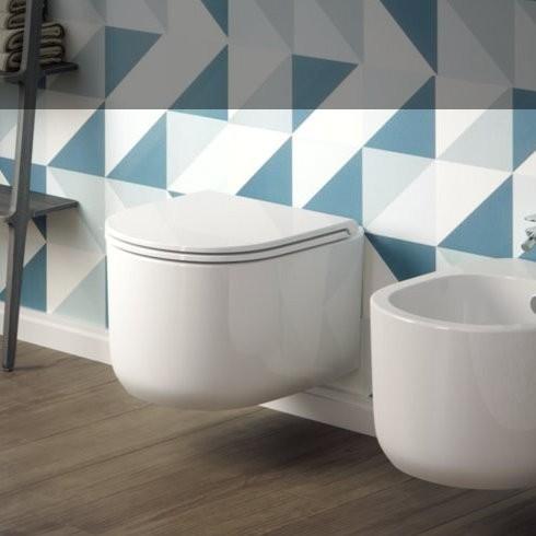 Wand-WC und Bidet Serie Giò Evolution | Soft Close Sitz | Ausführung weiß