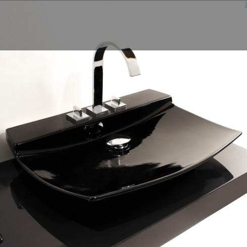 GSG | Waschtisch Fly | schwarz glänzend | 75cm