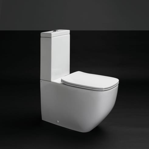 Axa Stand-WC mit Spülkasten White Jam | spülrandlos | 70cm | mit WC-Sitz weiß
