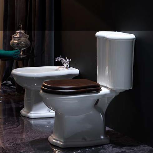 Axa Stand-WC mit Spülkasten Contea | mit WC-Sitz aus dunklem Holz