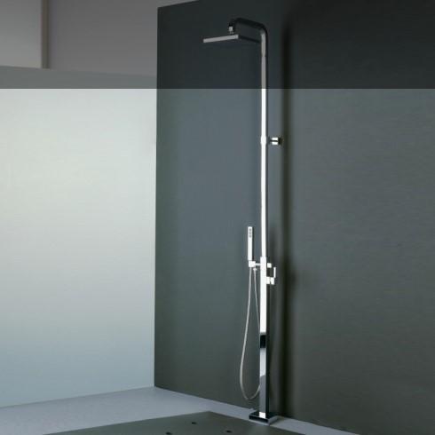 Treemme | bodenmontierte Dusche X-Change Q | chrom | quadratischer Querschnitt | 2x90° Auslauf