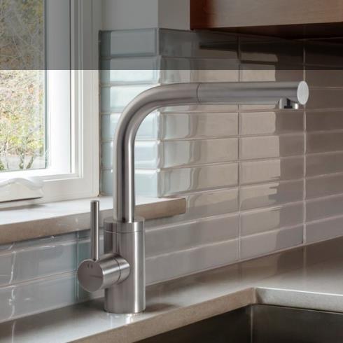 Treemme | Einhebelmischer für Küchenspülen | Serie 40mm | Edelstahl matt | Auslauf ausziehbar