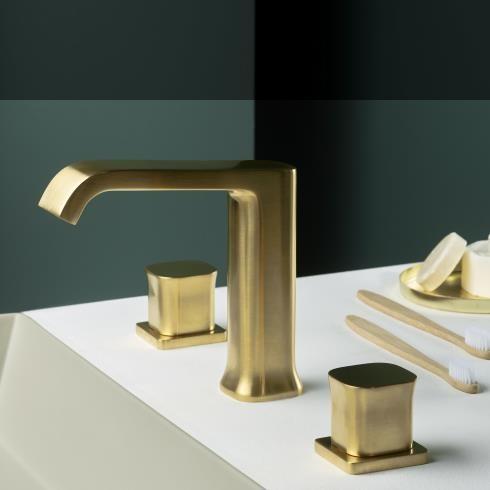Ritmonio | 3-Loch Waschtischarmatur Taormina | gold gebürstet | Knaufgriff