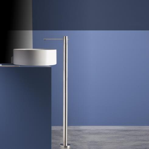 Ritmonio | bodenstehende Waschtischarmatur DOT316 | Edelstahl gebürstet | langer Auslauf (184mm)