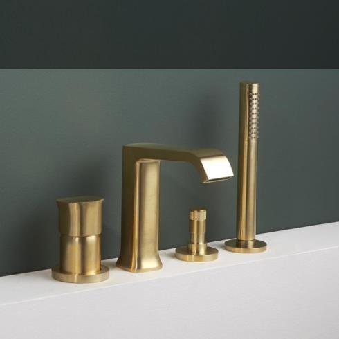 $-Loch Wannenrandbatterie Taormina | gold gebürstet