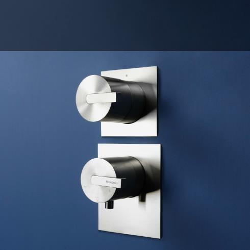 Ritmonio | 3-Wege Unterputzthermostatmischer DOT316 | Edelstahl gebürstet