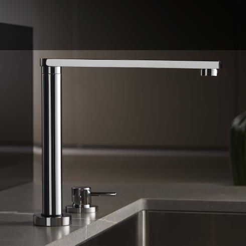 2-Loch Küchenmischbatterie Diametrotrentacinque | chrom | 360° schwenkbar und absenkbar | flacher Auslauf