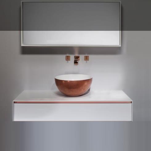 Korpus M2 Linea | Schubladenkonsole für Aufsatzwaschbecken | 120x52x250 Korpus und Fronten lackiert