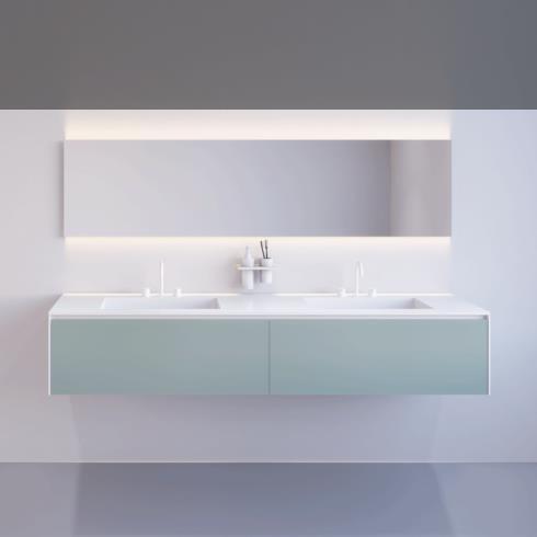 Waschplatz M2 Linea | Korpus mineral matt und Fronten aus Glas