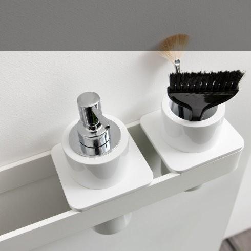 Regia | Accessoirsystem Ruben | 50cm | mit Becherhalter, Seifenspender in mineral matt weiß