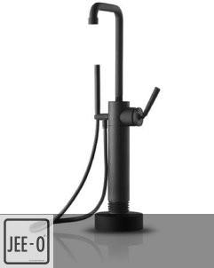 JEE-O | freistehende Wannenfüllarmatur Soho | Hammerschlag schwarz matt | runder Querschnitt