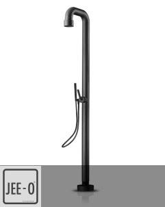 JEE-O | freistehende Brausearmatur Soho 02 | Hammerschlag schwarz matt | runder Querschnitt