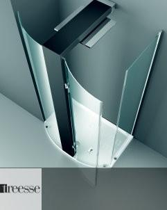 Elle 80x125 | mit Tür | Eckversion links (SX) |  schwarz