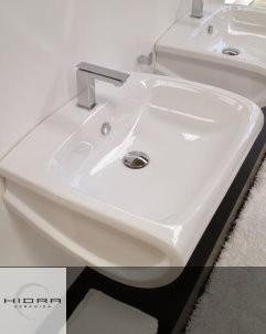 Hidra | wandhängender Waschtisch mit Hahnloch | Hi-Line | weiß