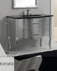 GSG | Time | klassische Waschtischkommode mit 2 auszügen auf Beinen | 94cm | Silber / schwarz glänzend / weiß